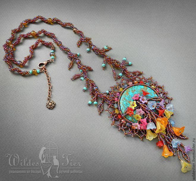 Купить Колье Цветочный водопад. - комбинированный, бисерное колье, цветочное колье, цветочные бусы, бирюза