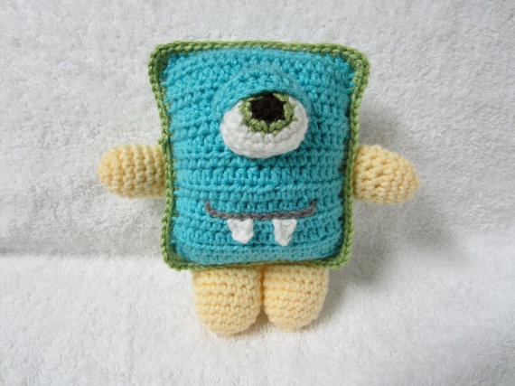 Blue Crocheted Monster...love this as much as sock animals.