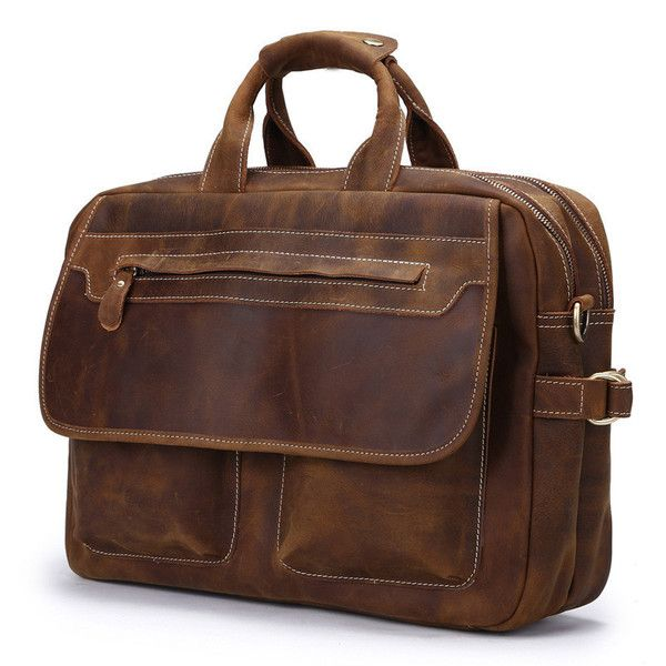 Hard Leather Mens Briefcase for men From high on leather