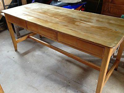 Vintage Wooden School Lab Table Desk 1950s Ebay Table