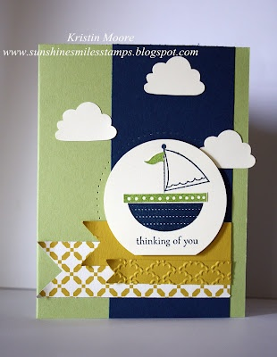Stampin' Up!   by Kristin Moore at Sunshine, Smiles & Stamps= Lovin' Life: Smile Stamps, Cards Ideas, Color Combos, Cards Stampin, Sailboats Cards, Stampin Up, Stamps Sets, Moving Forward, Boys Cards