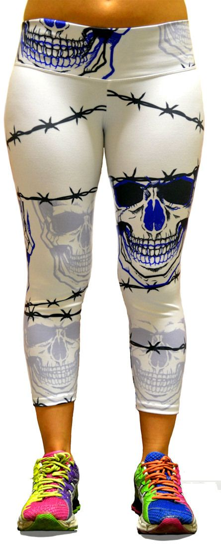 Men's Barbwire Skull Capri Leggings at SanDiegoFit.com