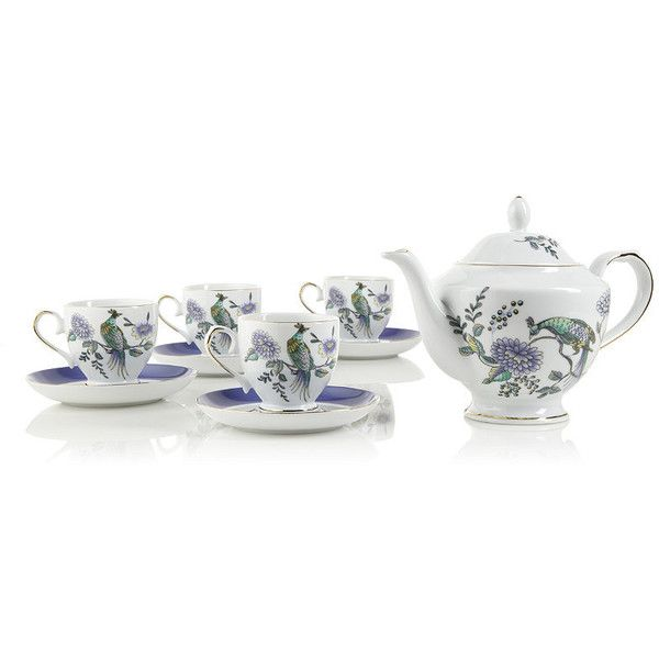 Peacock Teapot Set ($90) ❤ liked on Polyvore