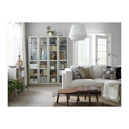 "BILLY Bookcase with glass-door - beige, 31 1/2x11 3/4x79 1/2 "" - IKEA"
