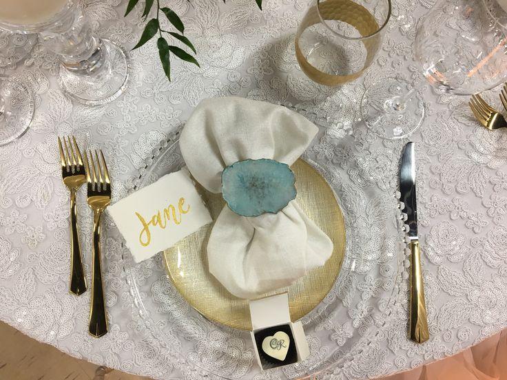 Gold details, agate, hand calligraphy #inspiredeleganceevents #winnipegweddings #gold #itsallinthedetails #weddingdetails #wedding