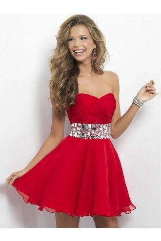 Short Sweetheart Homecoming Dresses, Fashion Cute Beads Red Party Gown For…