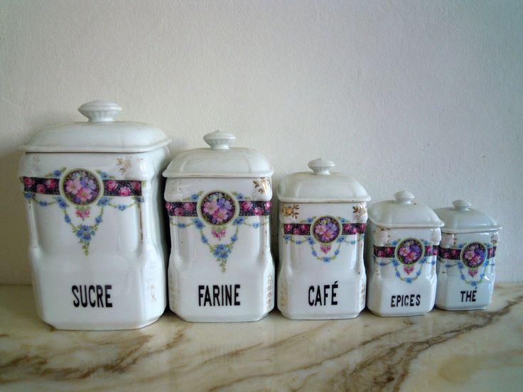 ancienne série pots à épices porcelaine VICTORIA