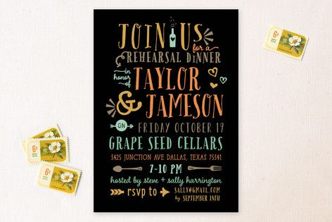 """""""Stacked"""" - Bold typographic, Bold typographic Rehearsal Dinner Invitations in Tangerine by Rebecca Bowen."""