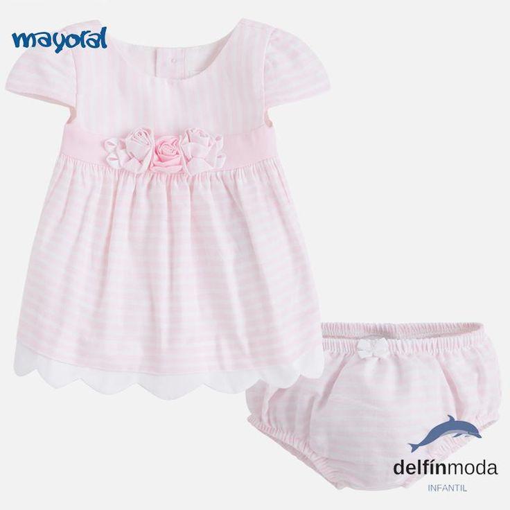 Vestido de bebe niña MAYORAL newborn rayas rosa