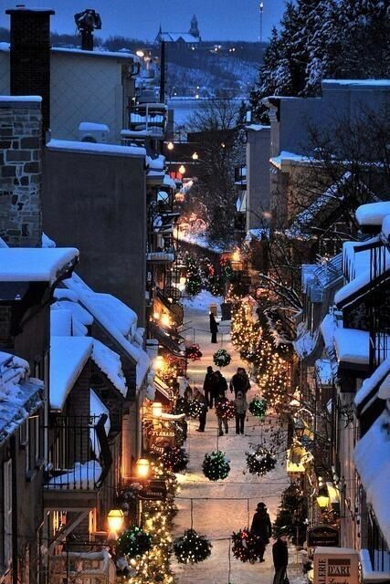 Rue du petit champlain, Quebec City..I want to go here during the holidays!