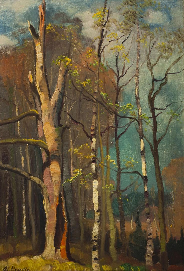 Otakar Nejedlý (Czech, 1883–1957) | Trees | Oil on cardboard, 39.5 × 28 cm.