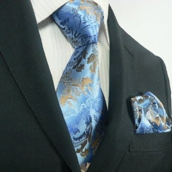 Landisun 17K Blue Brown Paisleys Mens Silk Tie Set