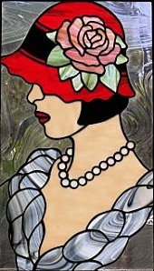 Lady in cloche, Stained Glass by Darryl