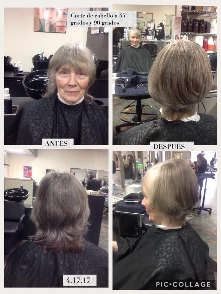 Antes y después de un corte de cabello. El corte de cabello fue a 45 grados del hueso occipital para abajo y 90 grados del hueso occipital para arriba.