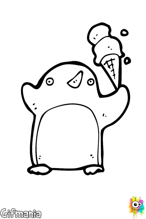 Pinguino Con Un Helado