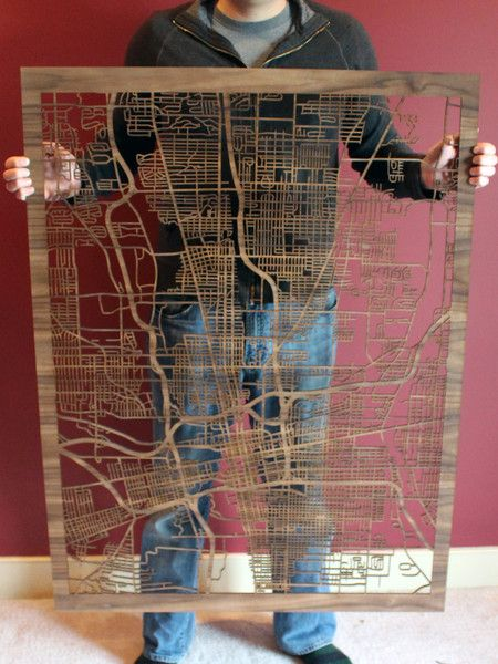 Large Custom Laser Cut Wooden Maps – Cut Maps