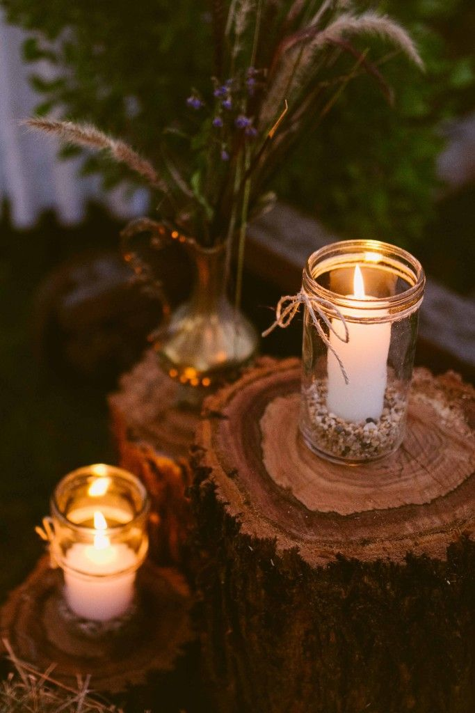 Cheap and easy way of decorating for your wedding. Rustic timber posts with jars and candles. Authentic Australian Wedding location, near Sydney, NSW. http://www.chapmanvalleyhorseriding.com/country-australian-wedding-part-1/  Wedding Ideas. Rustic wedding. Outdoor wedding. Country wedding venue. Australian wedding venue. Wedding Ideas.