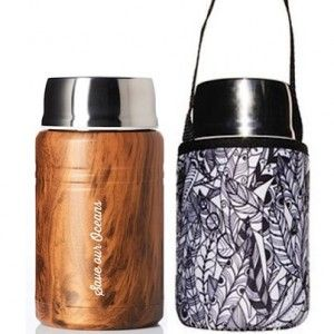 BBBYO 500ml Foodie with Cover - Wood Feather