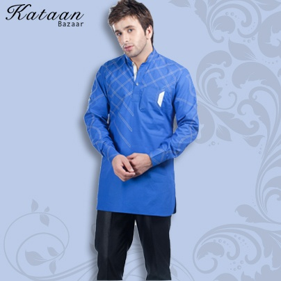 Blue Color Cotton Full Sleeved Kurti