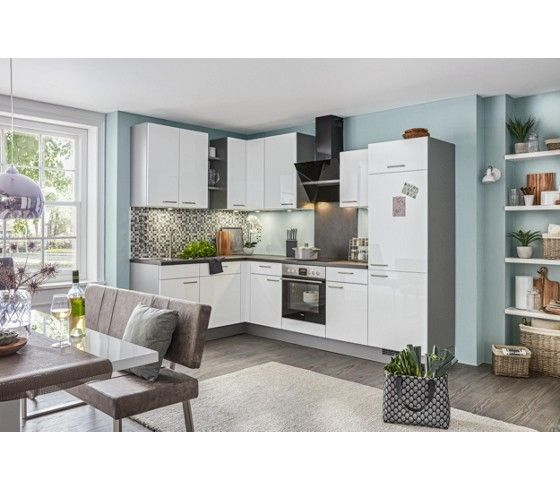 Eckküche in edelstahlfarbe und weiß der stylische treffpunkt für alle ✓ 30 tage rückgaberecht ➤ jetzt online bei mömax bestellen