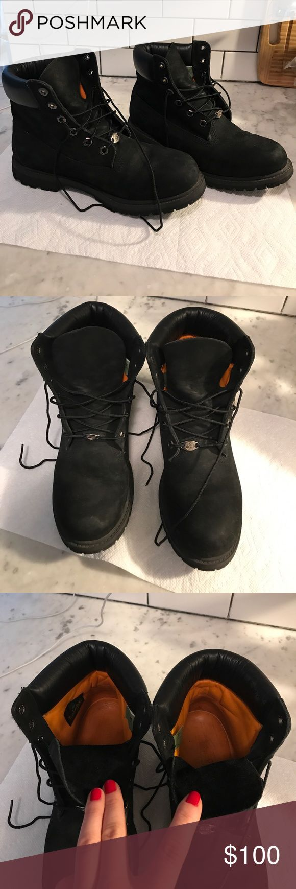 Women's Timberland black custom boots I made these custom online. All black Timberlands woman's size 10. In excellent condition. Barely worn. Not even fully broken in yet, they are still stiff. Timberland Shoes Combat & Moto Boots
