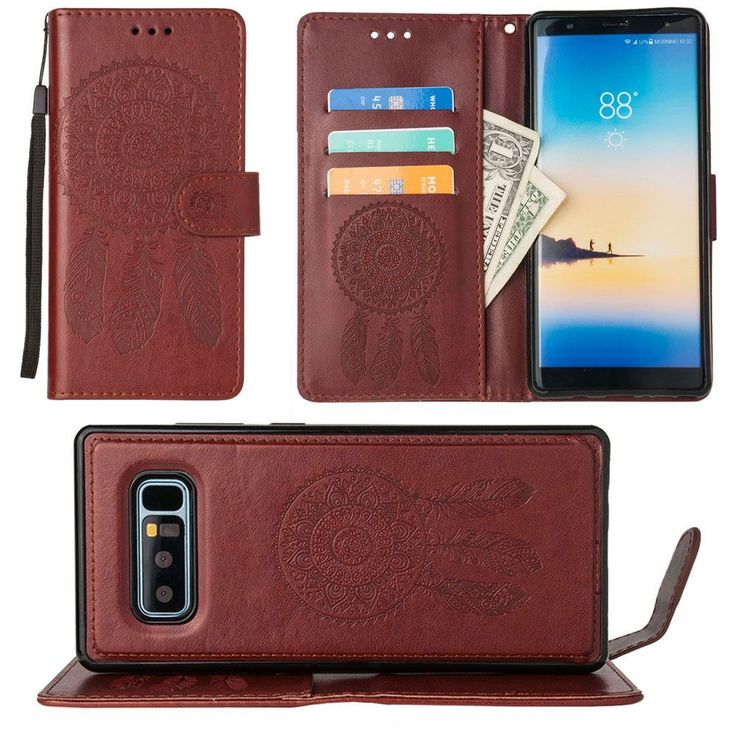 Samsung Galaxy Note 8 - Embossed Dream Catcher Design Wallet Case with Detachable Matching Case and Wristlet, Brown