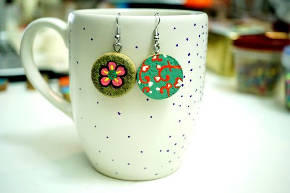 Recycled Wine Cork Earrings - Two Sided - Flowers and Hearts