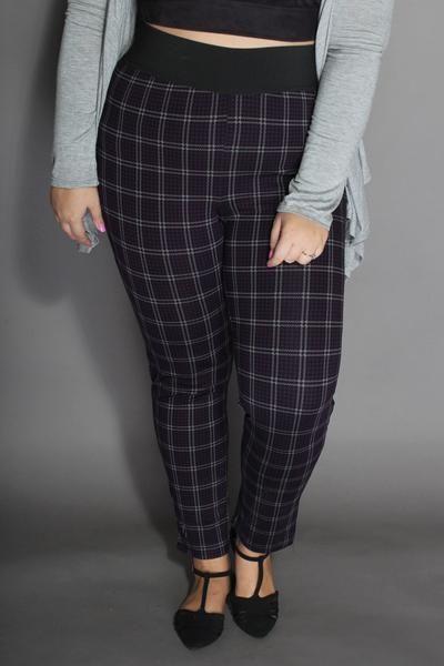 Plus Size Clothing - Plaid Leggings