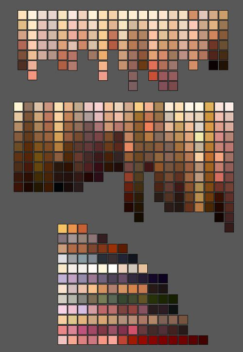 skin tone colour palettes including some unusual skin