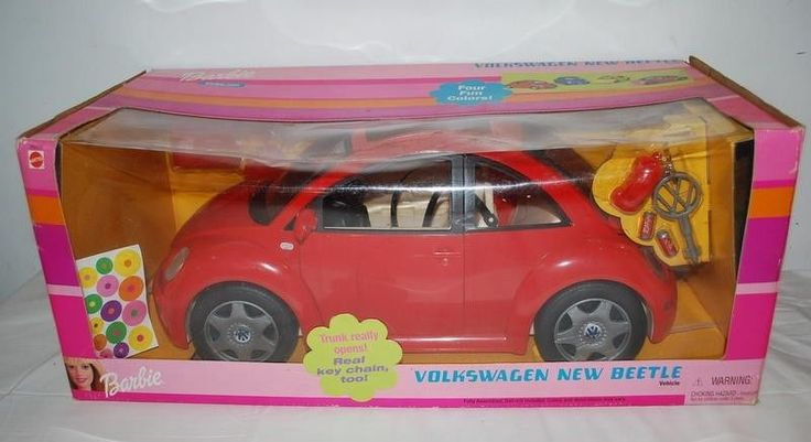 barbie volkswagen beetle vw bug car doll vehicle key chain nib  red mattel barbie