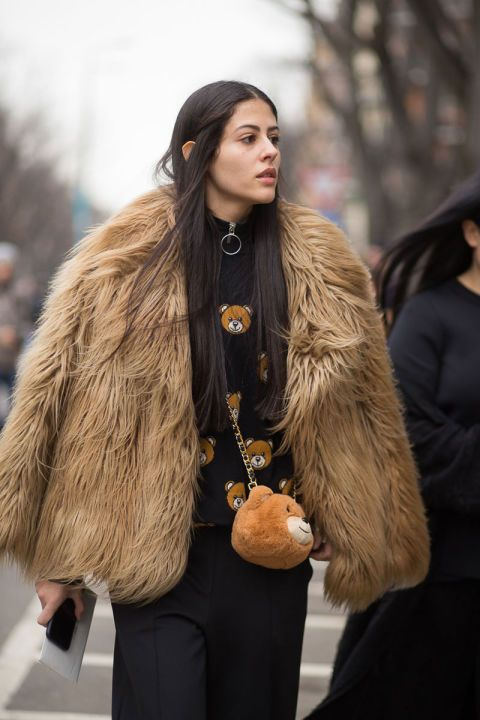Details In Street Style. Moschino sweater and teddy bag at Milan Fashion Week Fall 2015