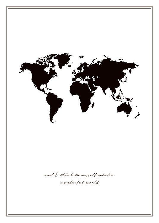 Poster mit schwarz-weißer Weltkarte.