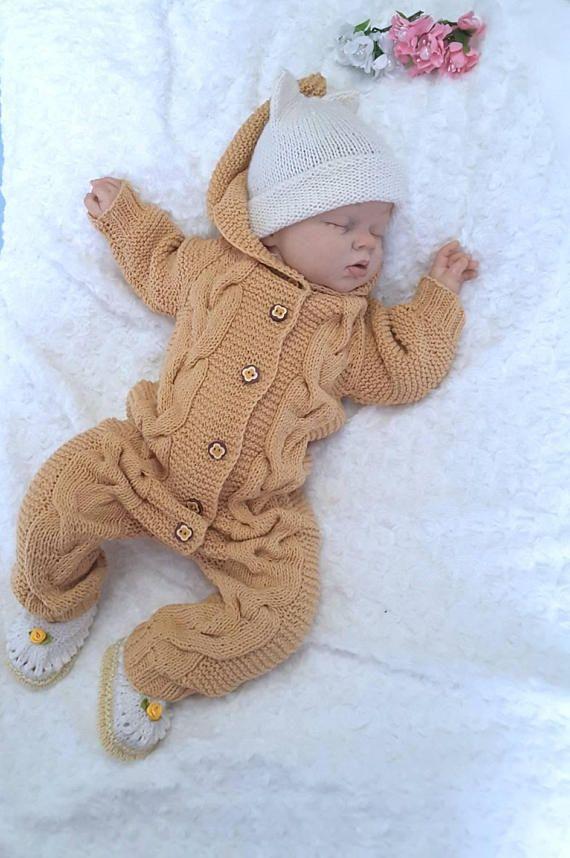 Hand knit baby overall romper handknit hooded baby overall knit merino wool baby romper hand knit newborn jumper pink babygirl jumper