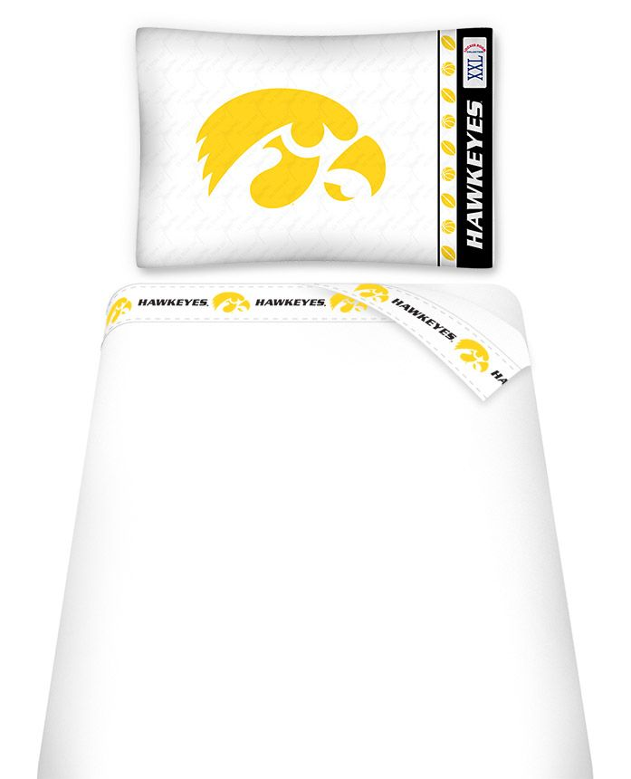 NCAA Iowa Hawkeyes Micro Fiber Sheet Set Twin. The Teams are scoring high points with team-color logos printed on both sides of the entire width of the extra deep 4 1/2″ hem of the flat sheet. The flat sheet is 66″ x 96″ and the fitted sheet is 39″ x 75″ and 11″ pocket. Weight of fabric is 92gsm. The twin sheet set will have one pillowcase.