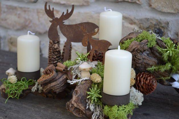 Kerzen & Beleuchtung - Adventsgesteck-Alpen...blühen-2- - ein Designerstück von Moneria bei DaWanda
