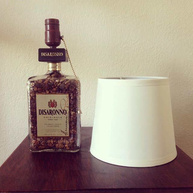 Disaronno Reveal This lamp is filled with river rocks to match the Disaronno col...