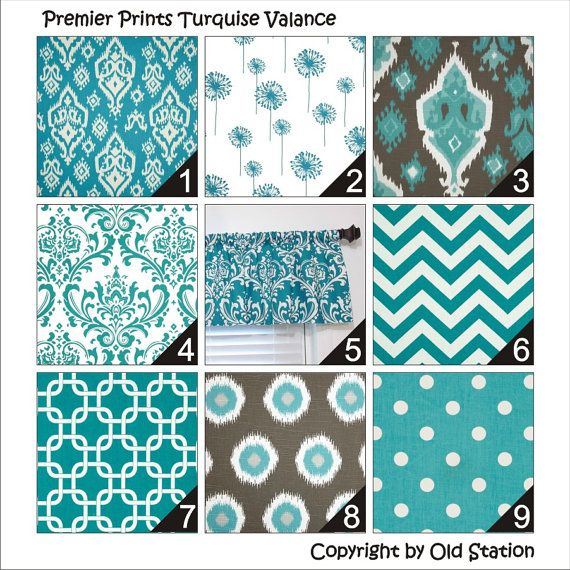 Premier Prints True Turquoise Window Curtain Valance By Oldstation Etsy Group Board