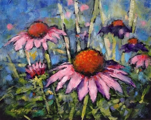 """Daily Paintworks - """"Cone Flowers"""" - Original Fine Art for Sale - © Nancy F. Morgan"""