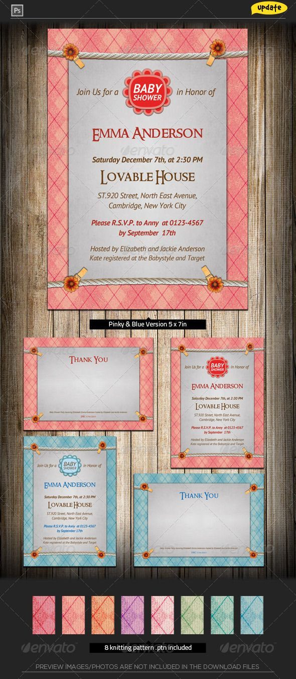 free wedding invitation psd%0A Baby Shower Invitation  Knitting Joy