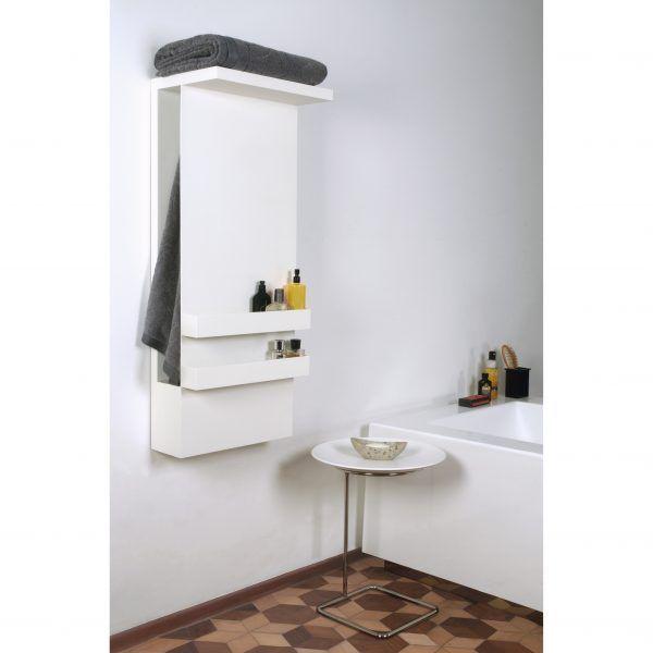 Shelf with mirror towel warmer white or black CROWDYHOUSE