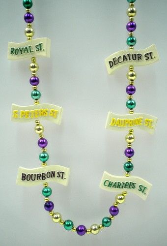 42 INCH - NEW ORLEANS STREET SIGN MEDALLION PURPLE, GREEN AND GOLD MARDI GRAS BEAD - $4 EACH