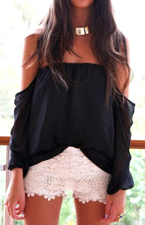"""Wisteria Lane"" off the shoulders black top w/ white shorts"