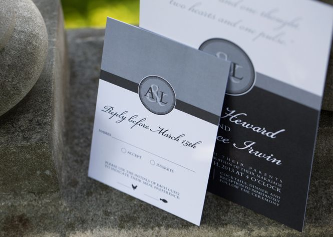 Laura K Monogram Wedding Invitation and Reply Card