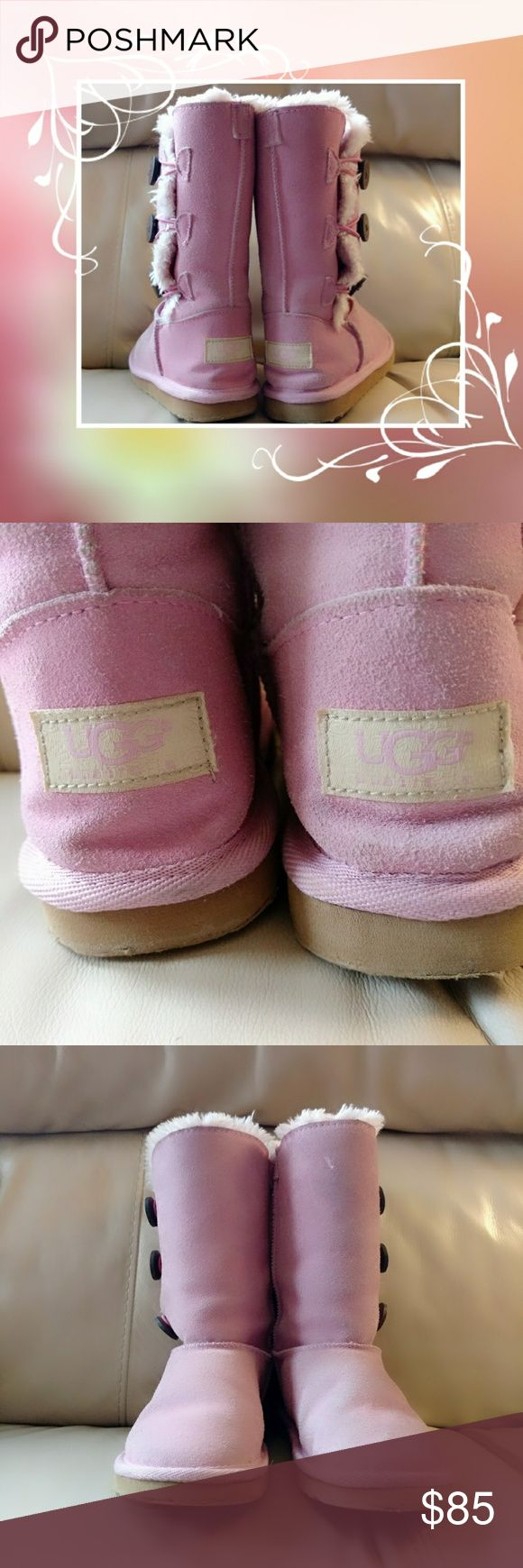 Beautiful girls UGG boots! My new husband doesn't really like UGGs, plus we just found out that one of our sons has (Stage 4) Anaplastic large cell lymphoma cancer, so I'm going to sell as much as I can. I'm pricing my items to sell as fast as I can, please don't low ball my Price's! I will consider offers as long as it's fair, cause Posh takes 20% or $3 if the price is under $15. I do give a discount on bundles!!  These are a light pink, they are a size 5/6, there is normal wear. There is a…