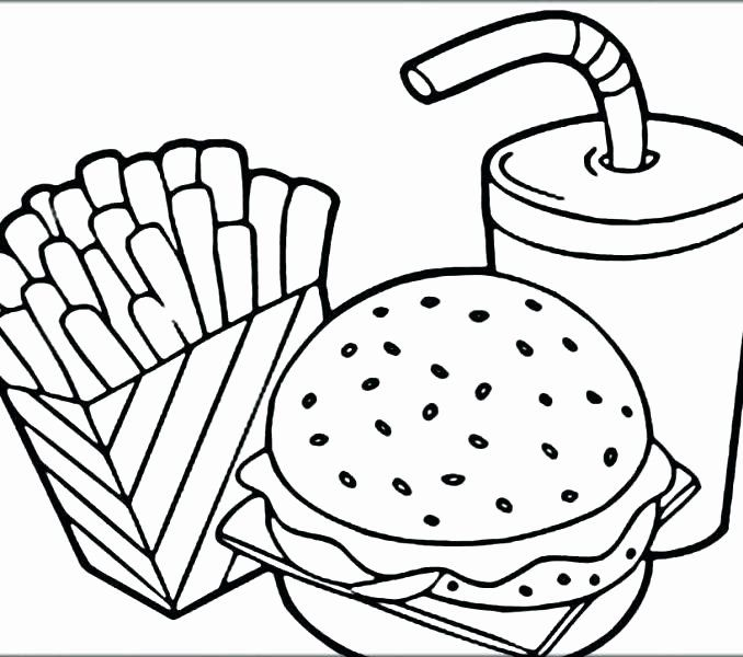 Cute Food Coloring Pages Printable Background