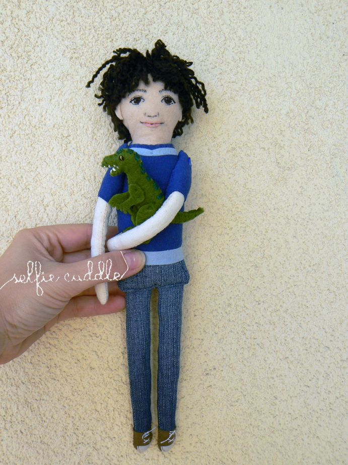 fabric handmade doll, portrait, small boy, selfie doll, face detail, embroidery, dino