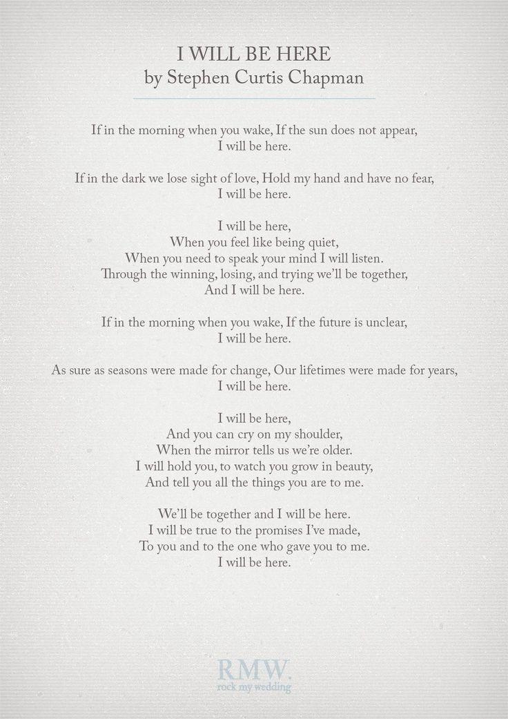 Wedding Ceremony Music Readings Ceremonies Reception Poems Newlyweds Tips I Will Lady