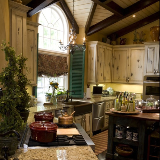 Love this kitchen with the farmhouse sink, distressed ...