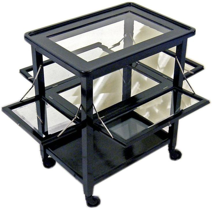 Art Nouveau Vienna Serving Trolley Massive Oakwood Black Stained, circa 1915 | From a unique collection of antique and modern carts and bar carts at https://www.1stdibs.com/furniture/tables/bar-carts/