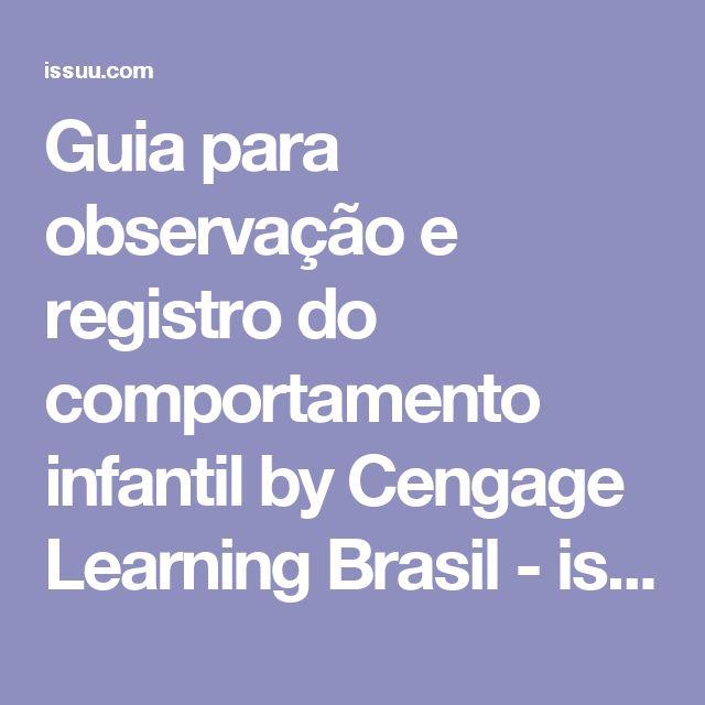 Guia para observação e registro do  comportamento infantil by Cengage Learning Brasil - issuu